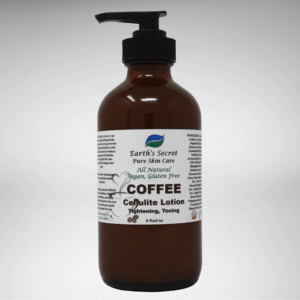 Coffee Cellulite Lotion in a brown apothecary bottle with a pump