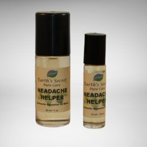 one-ounce and one-third-ounce rollon bottles of Headache HelperEssential Oil